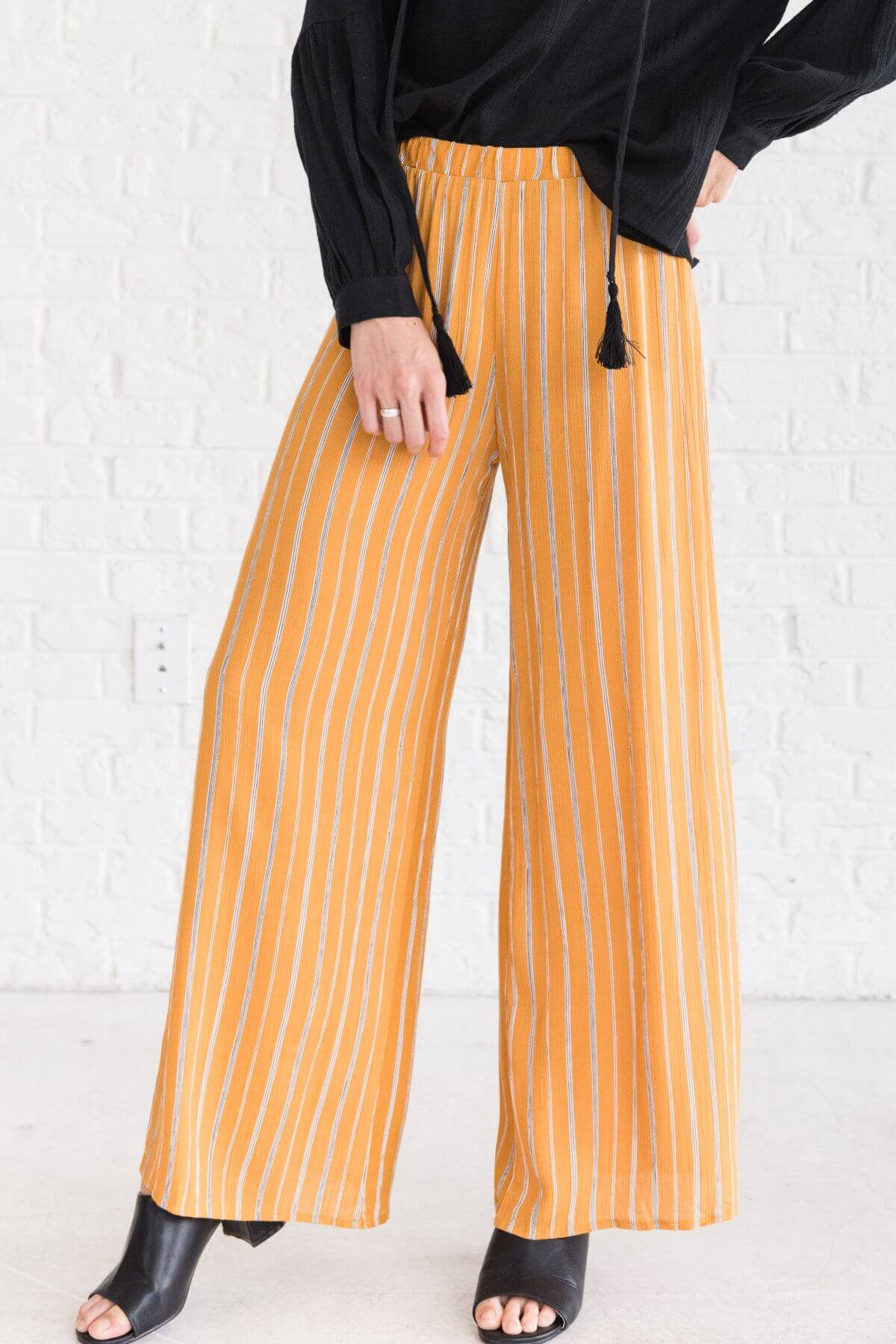 Mustard Yellow Striped Flare Palazzo Pants