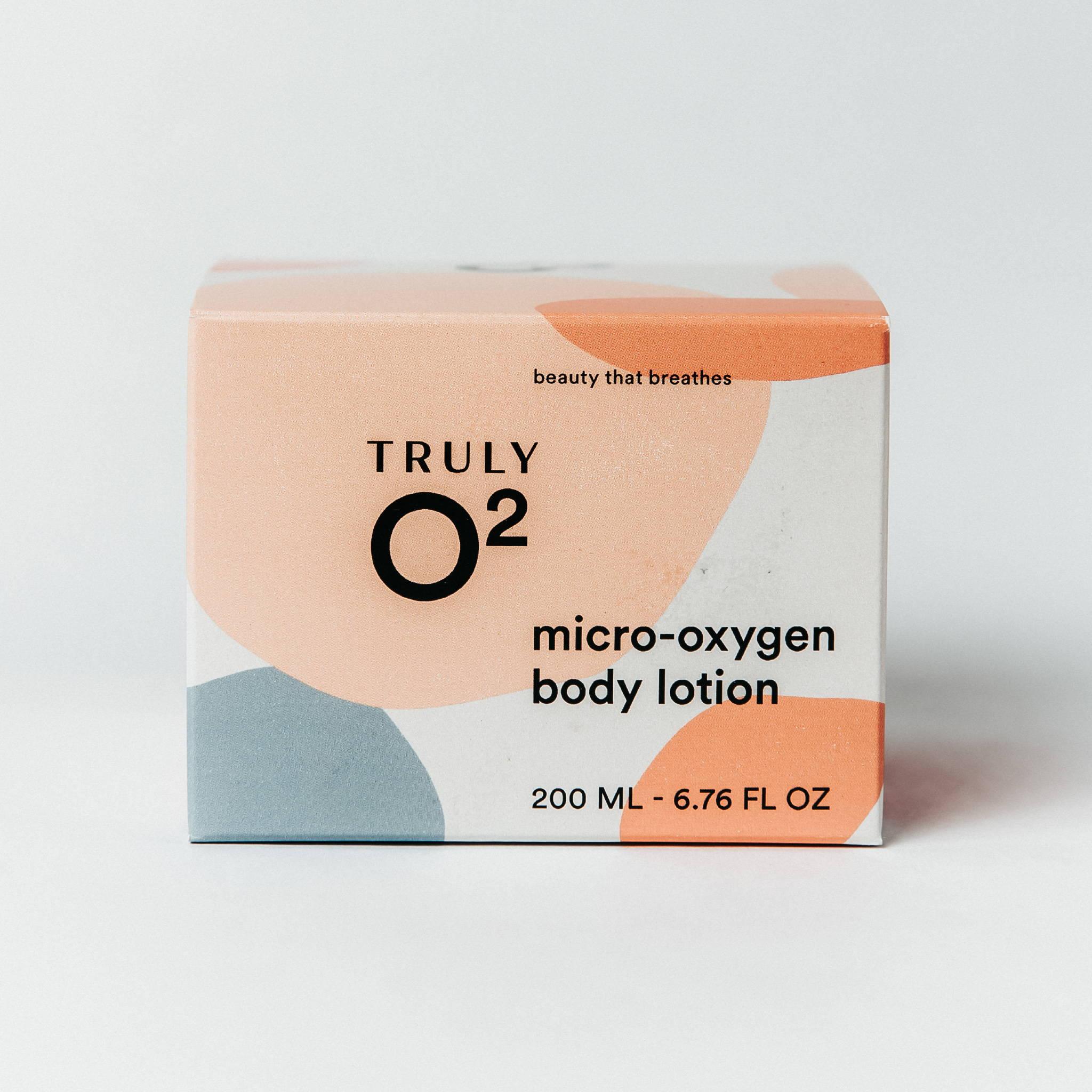 Truly O2 micro-oxygen body lotion 6.76oz face cream box