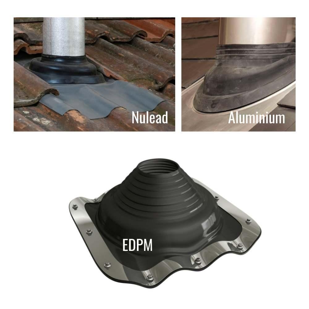 Different roof flashing. Nulead, aluminium, and EDPM