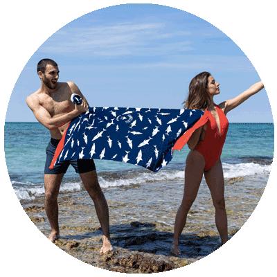 serviettes de plage rondes et rectangles