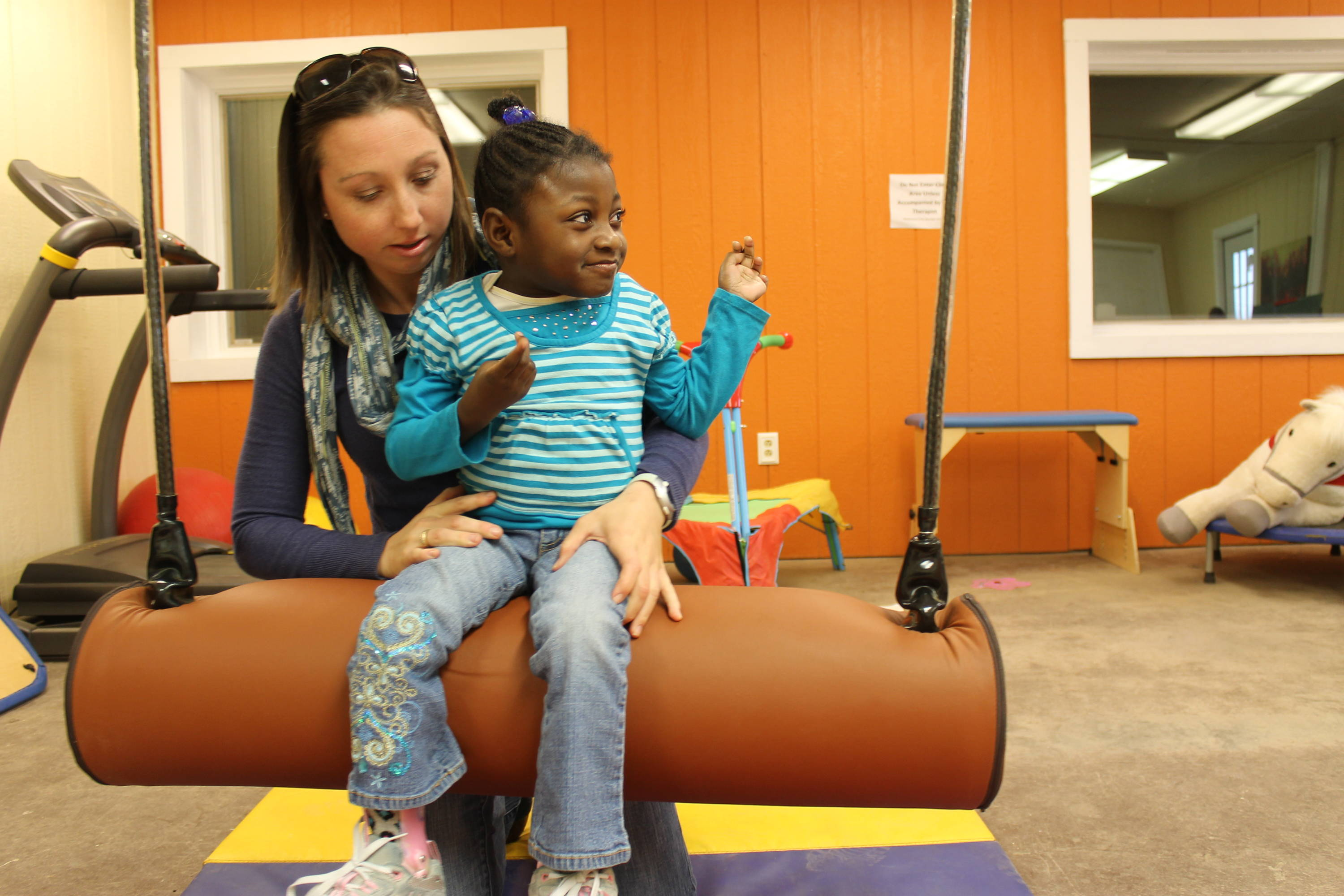 Indoor therapy clinic at Shining Hope Farms