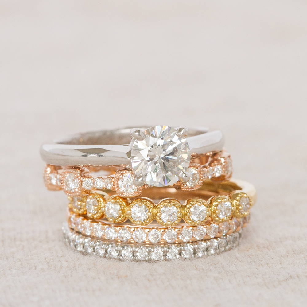 Engagement Ring and Wedding Band Stack