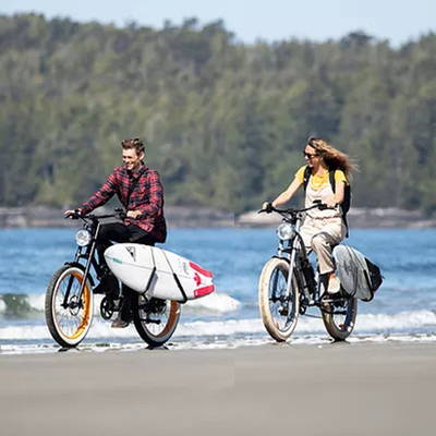 These electric beach cruisers can ride on the street and the soft sand with ease.