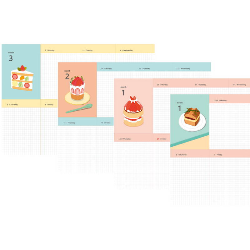 Weekly plan - Design Comma-B 2020 Sweet dessert dated weekly diary planner