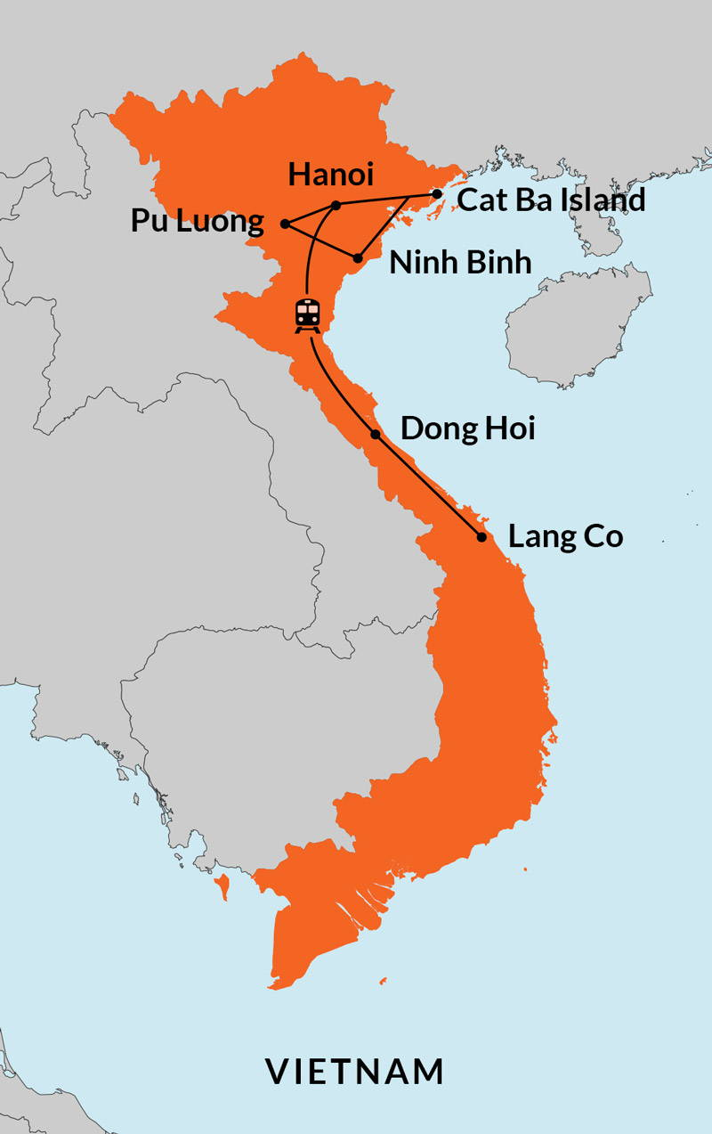 Travelbay Vietnam Tours - 15 Day Map