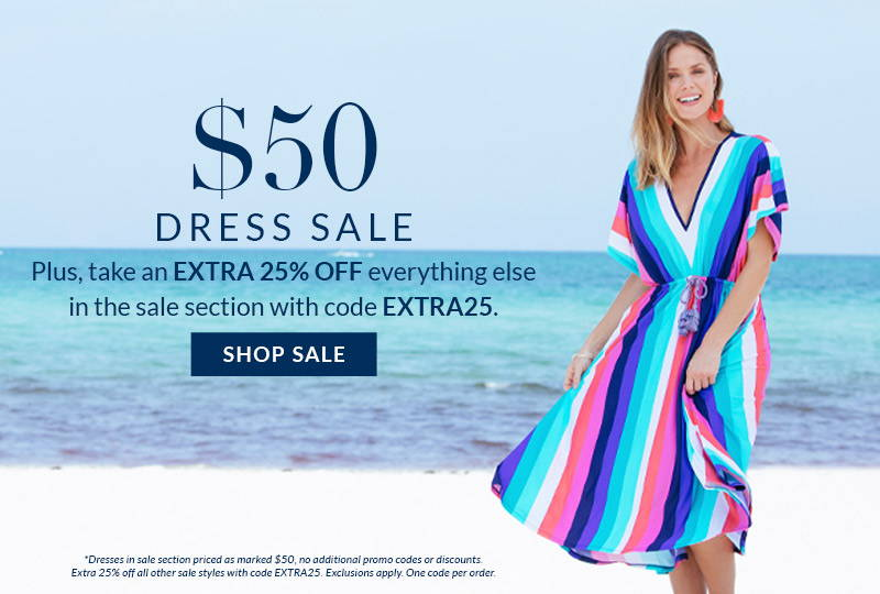 Shop $50 Dress Sale! Plus, extra 25% off everything else in sale section with code EXTRA25. Priced as marked. Exclusions apply. Woman wearing Cabana Stripes Tie Waist Midi Dress.