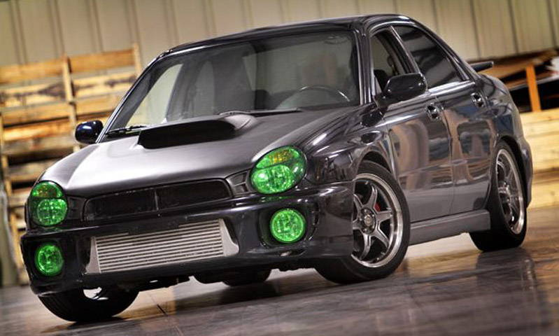 Subaru WRX Green Lamin-x fog light film covers
