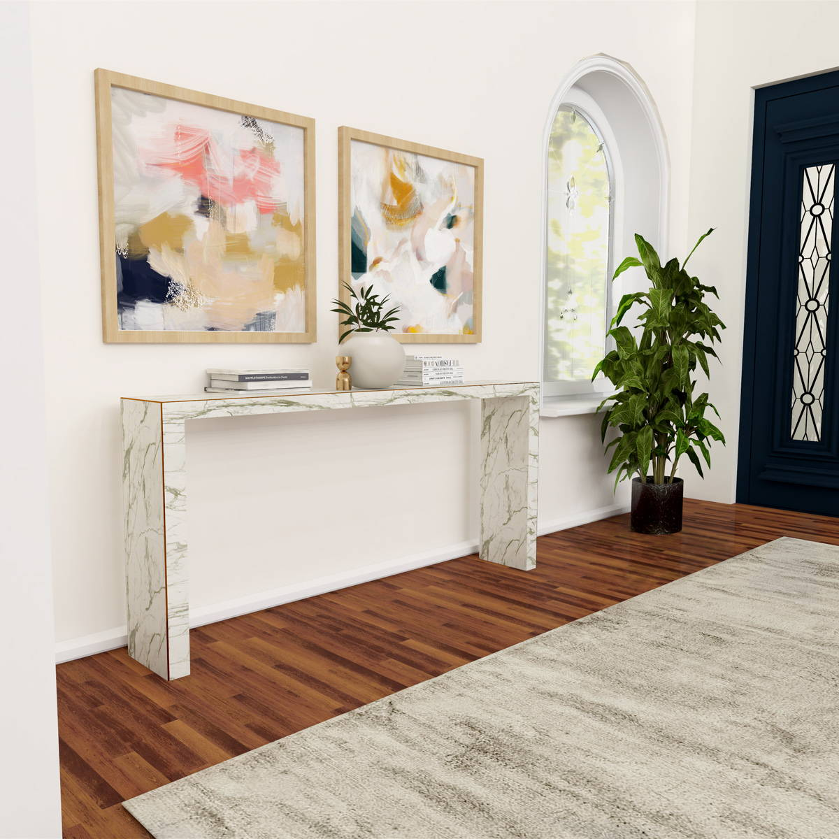 Pair of abstract wall art prints for bright white entryway. Set of art, Emmi and Evangeline by Parima Studio.