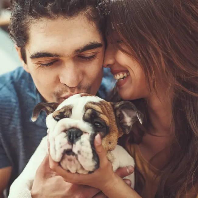 couple kissing their dog
