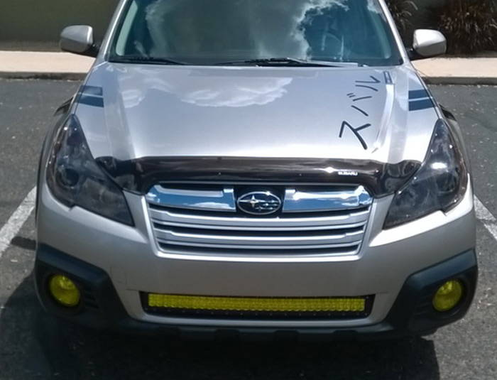 Subaru Outback with Yellow Lamin-x LED light bar film