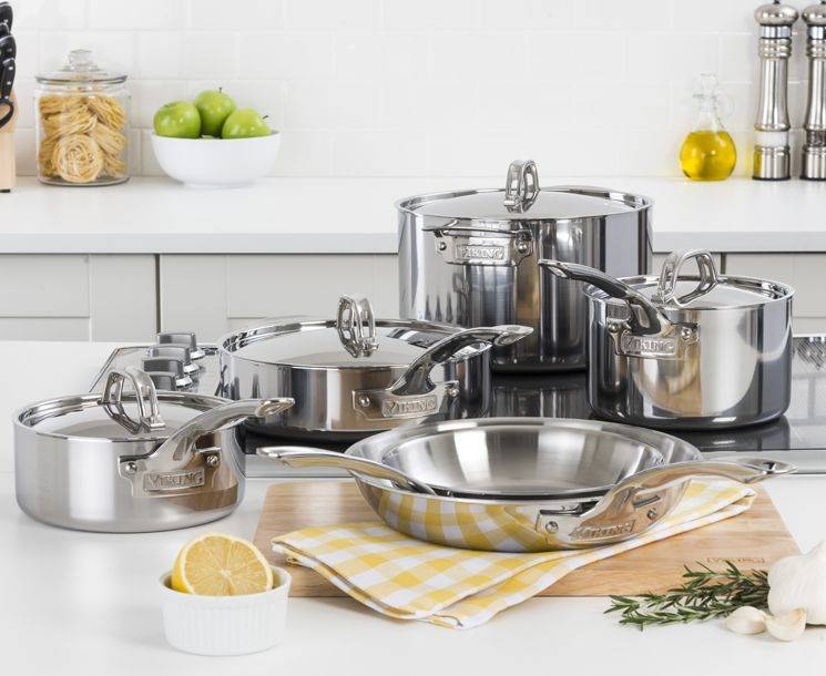 VIKING CULINARY 3-PLY STAINLESS STEEL 7 PIECE COOKWARE SET