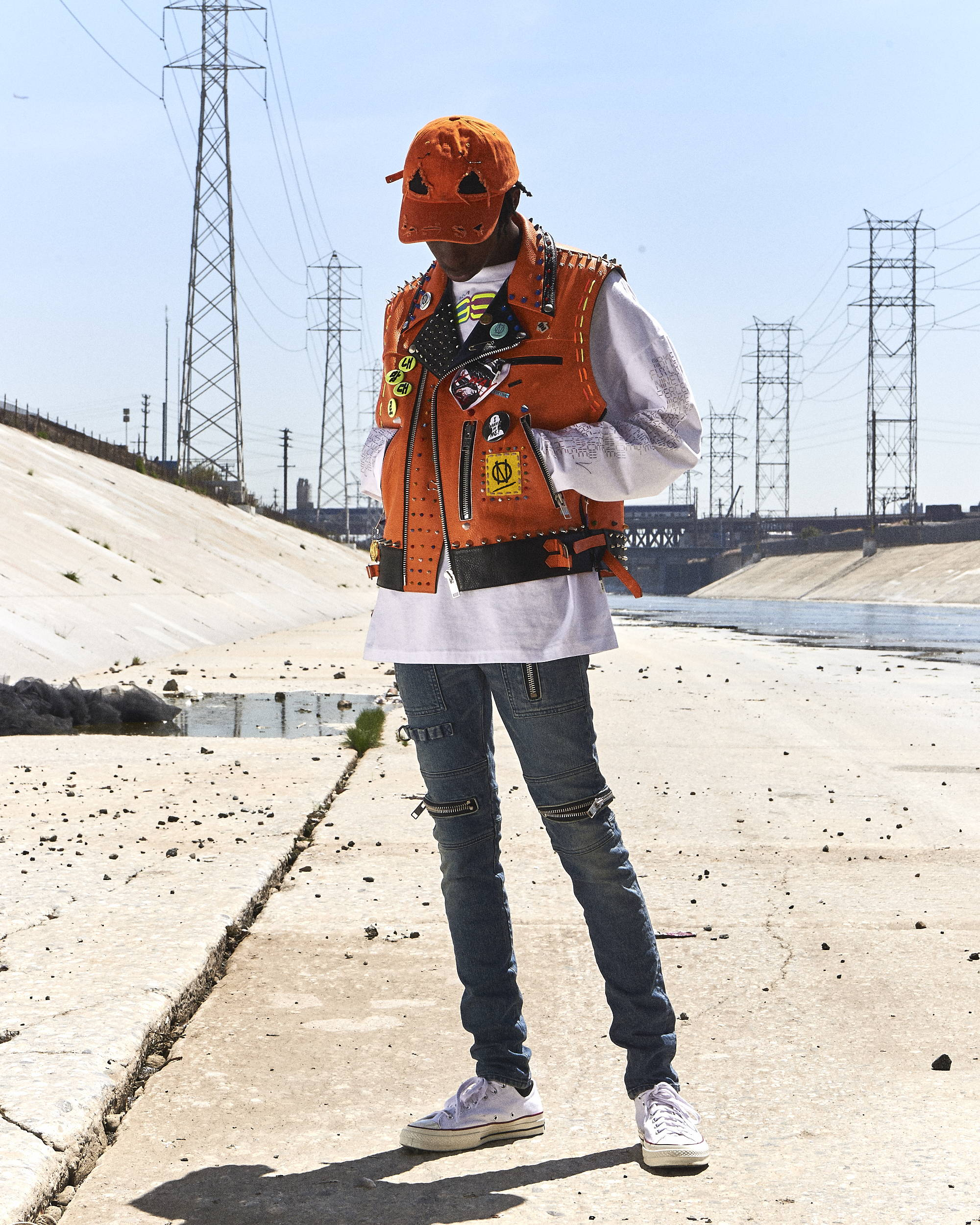 99% Studded Leather Vest 99% Cap SS18 - Hlorenzo