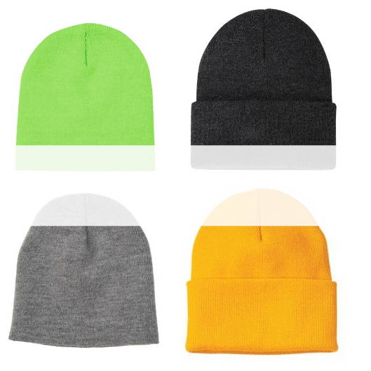 Blank, unbranded winter headwear (toques and beanies)