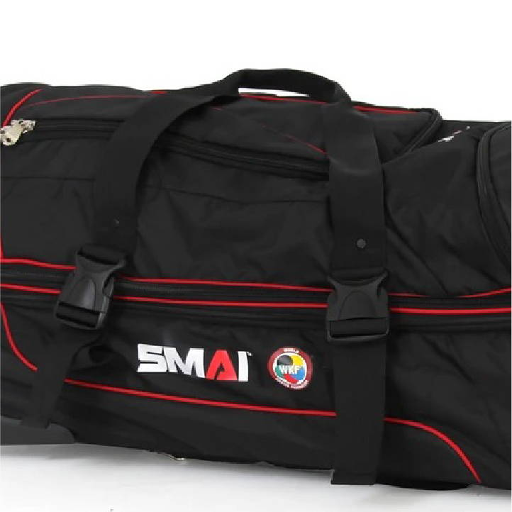 external straps and internal tie downs world karate federation travel bag
