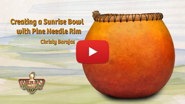Learn how to create a sunrise gourd bowl with pine needle rim!