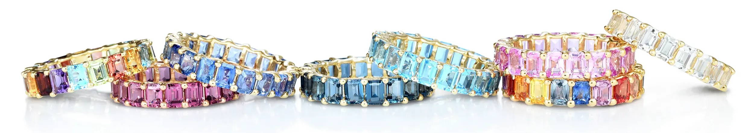 Stack of Emerald Cut Gemstone Bands in variety of colors
