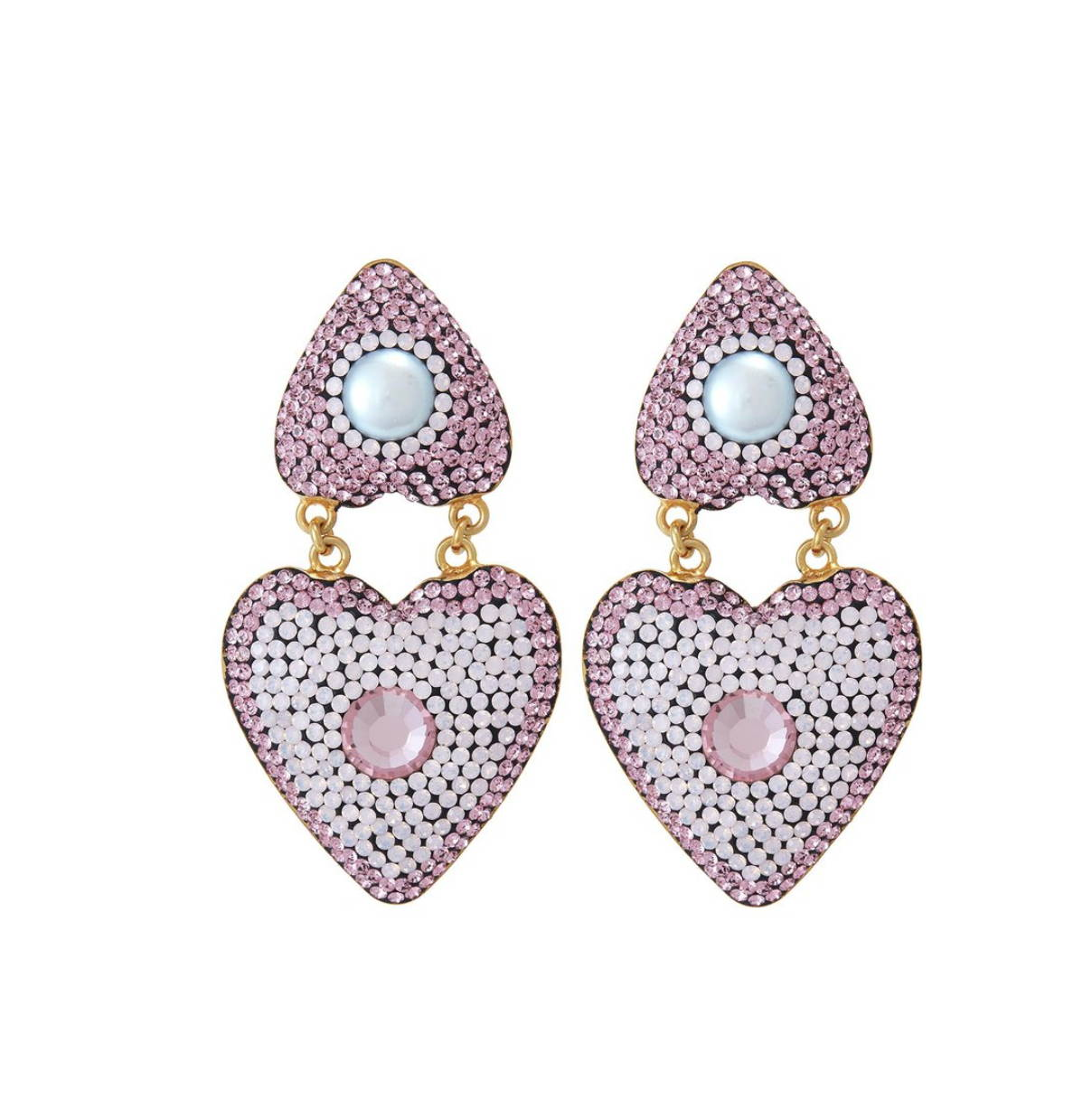 SORU JEWELLERY PINK DOUBLE HEART EARRINGS