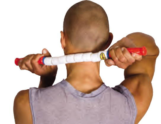 Man using stick on his neck and back