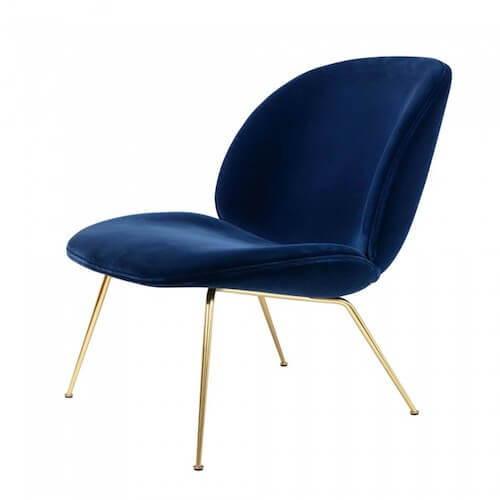 GUBI Beetle Lounge Chair Blue Velvet