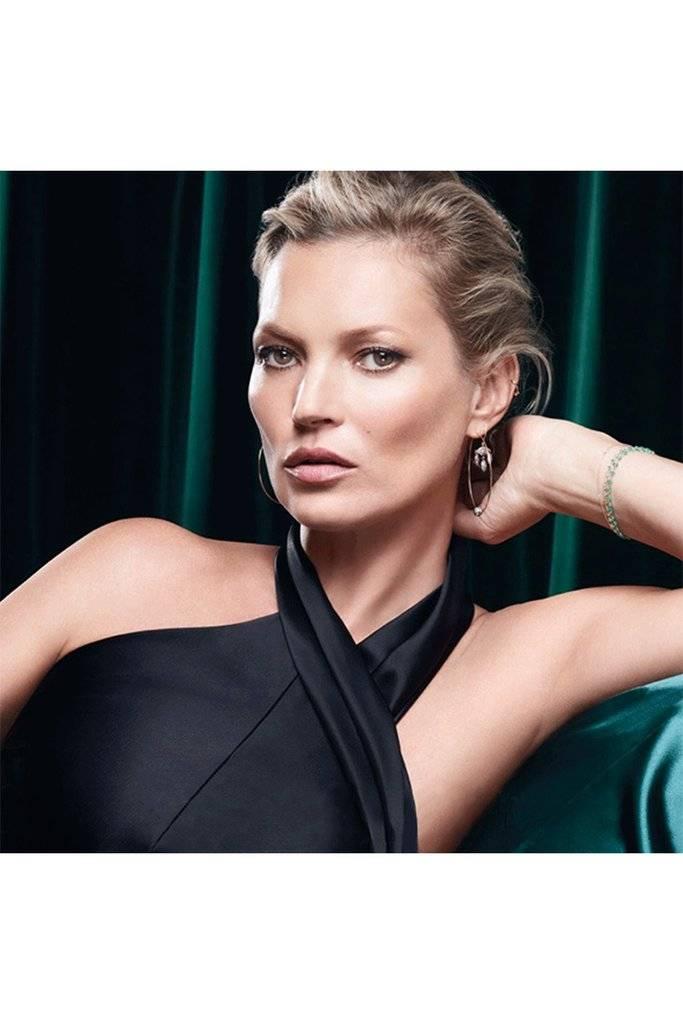 Kate Moss wearing Galvan London altered neck satin slip dress in black