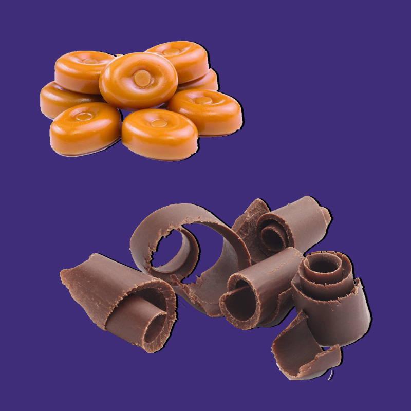 Butterscotch lollies and chocolate swirls