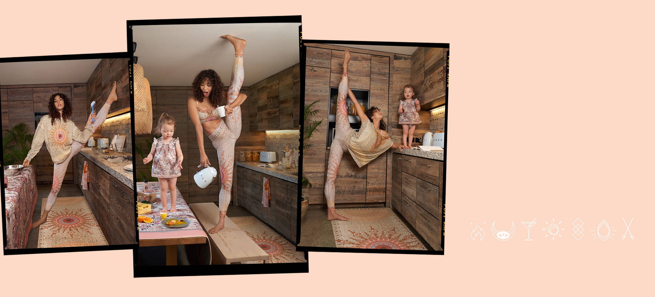 CAMILLA new yoga zenwear, yoga crop, tights, jumper, tshirt, beige, orange, pink bohemian print. Model and Luna in kitchen.