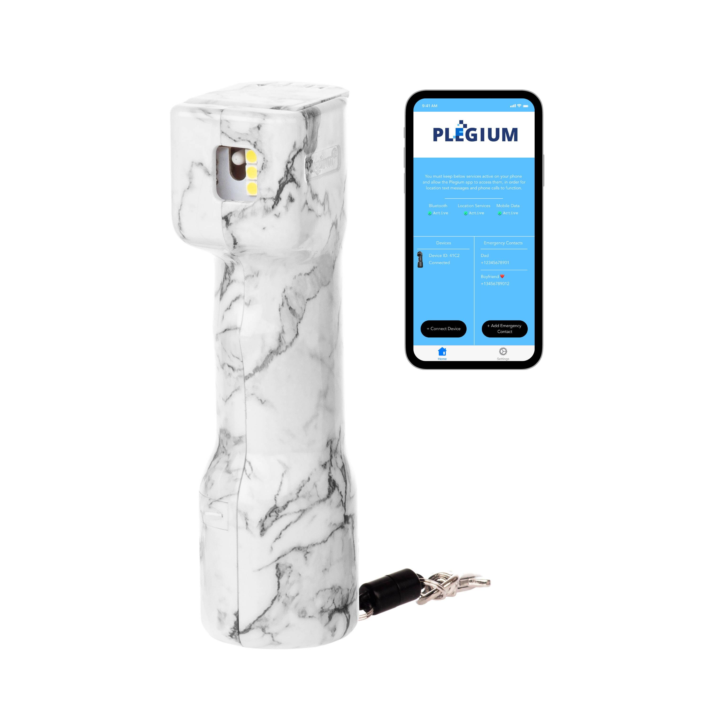 Genie Försvarsspray med iphone med Plegium-appen öppen