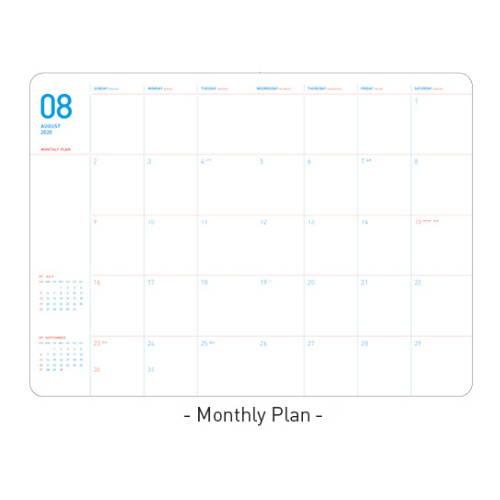 Monthly plan  - Ardium 2020 Light dated daily planner scheduler