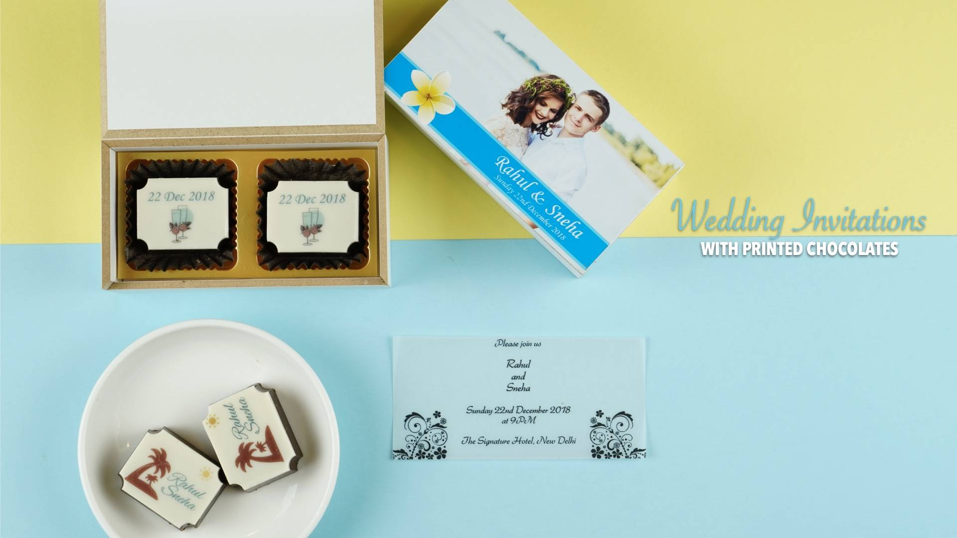 Wedding Invitations with chocolates