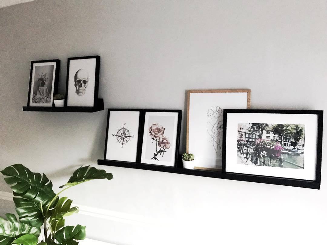 art displayed on shelves