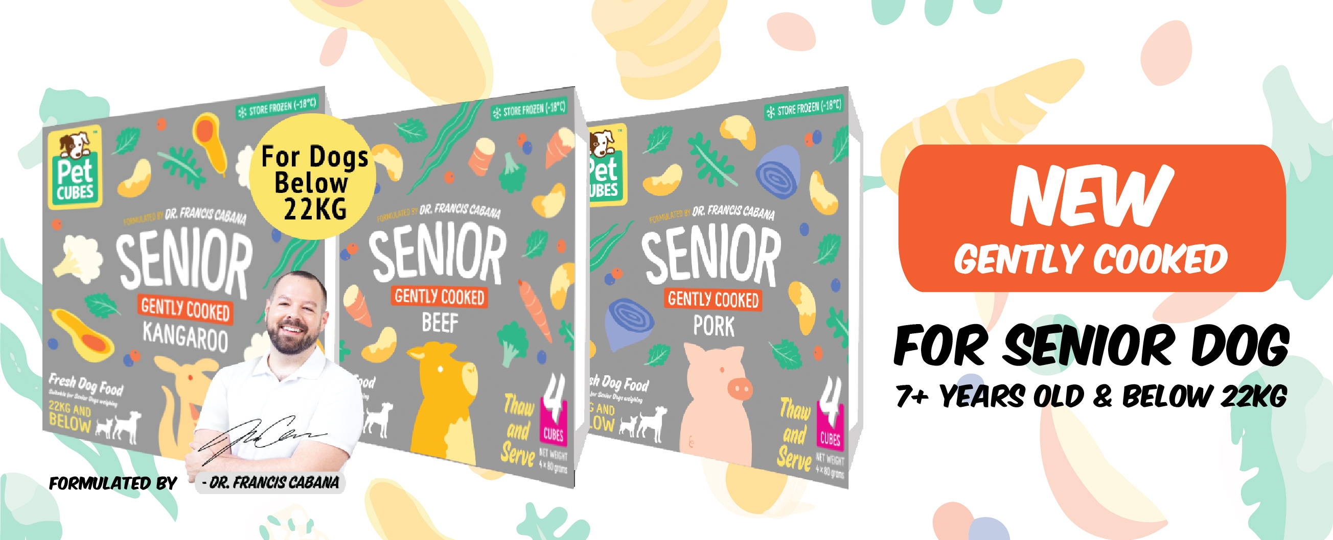 New Pet Cubes Gently Cooked Senior frozen dog food