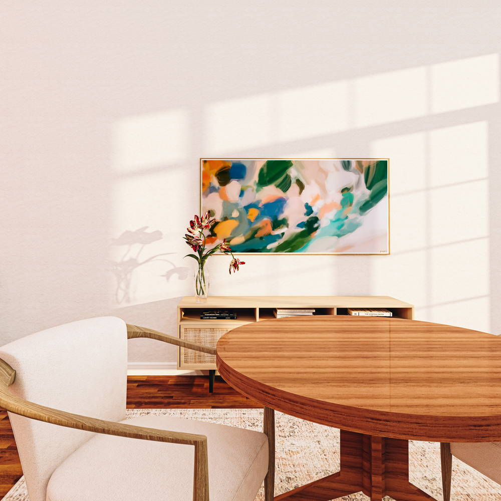 Large scale art with retro colors in a neutral dining room via Parima Studio. Oversized wall art prints.