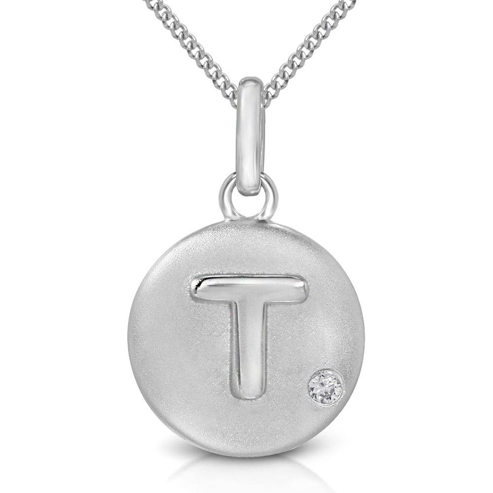 Pure at Birth letter T pendant with curb link necklace