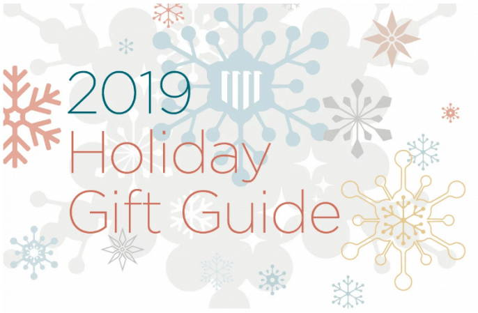 Line drawings of snowflakes with text that reads: 2019 Holiday Gift Guide