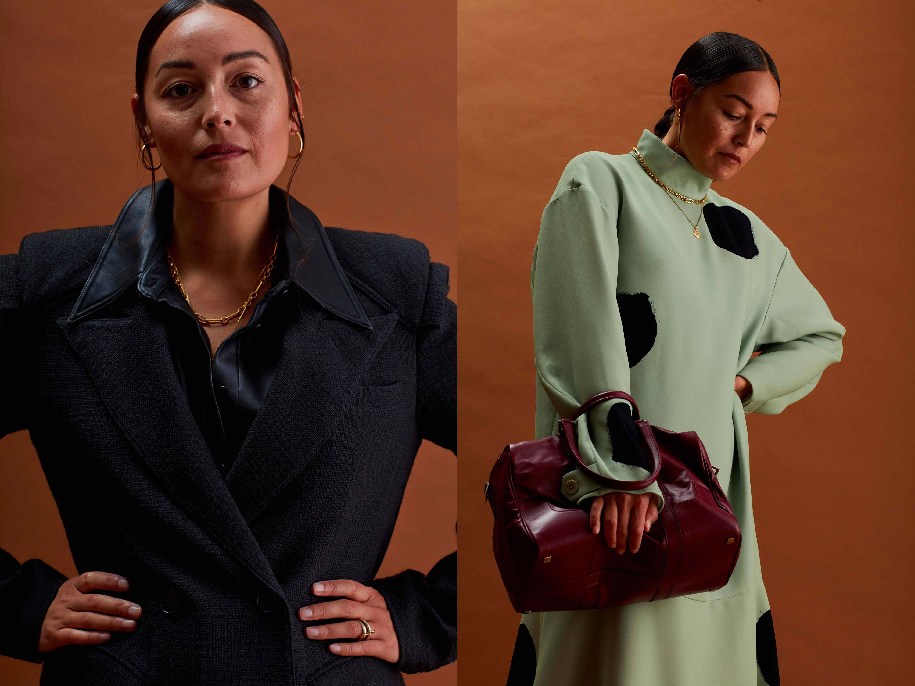 Two images of Stylist and Creative Director Rachael Wang. Wang wears resort 2020 pieces.