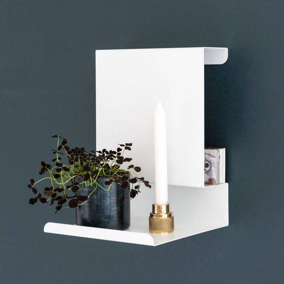 Small white shelf bedside table