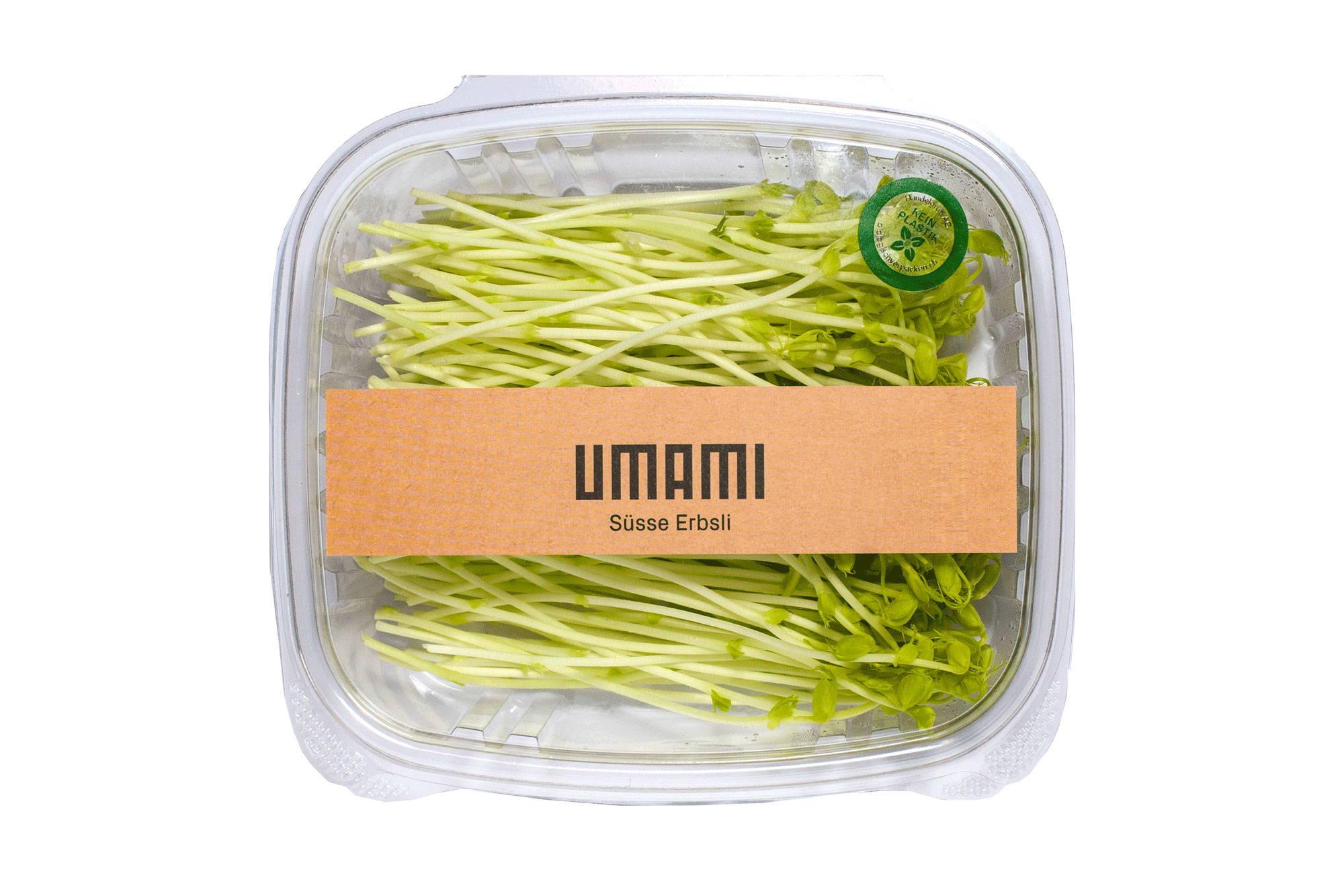 Süsse Erbsli UMAMI Microgreens. Süss und knackig im Geschmack.