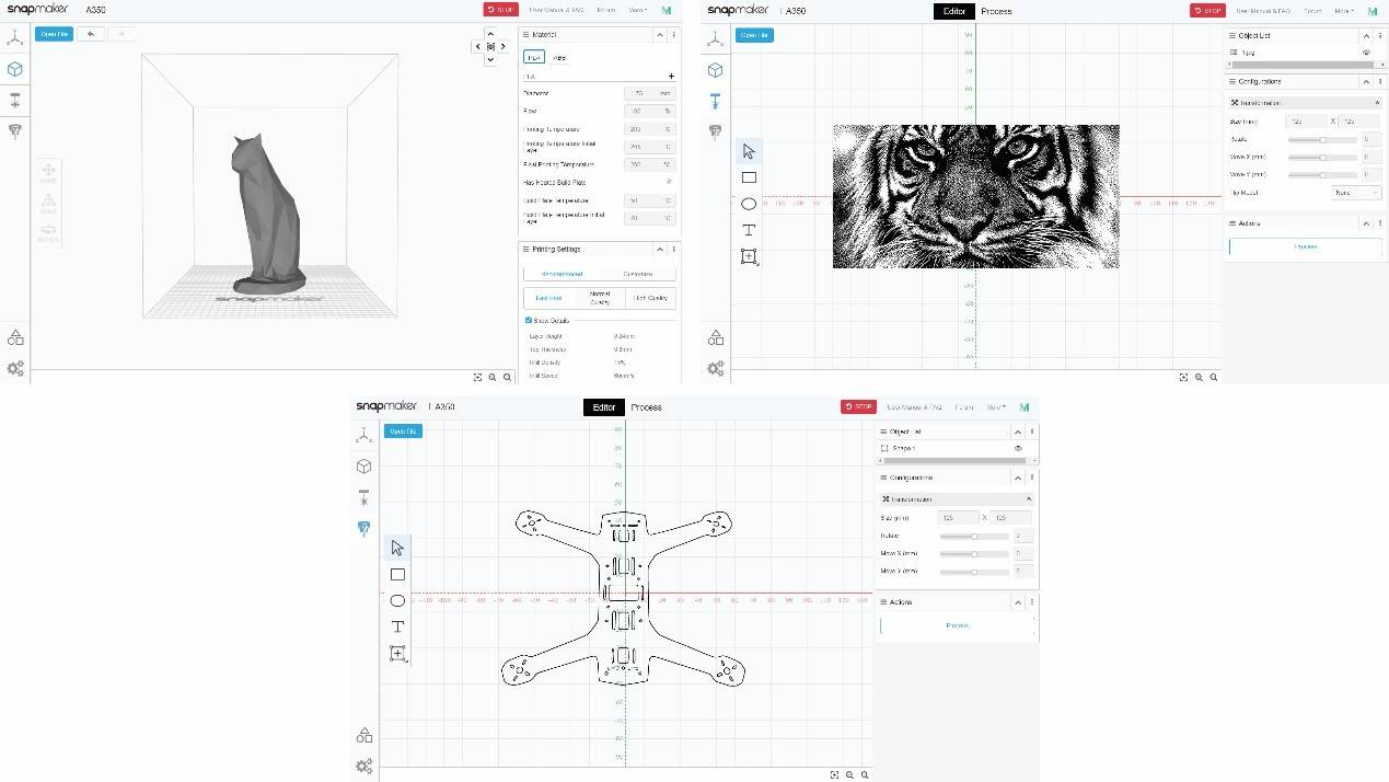New interfaces and functionalities for 3D printing, laser engraving, and CNC carving in Snapmaker Luban