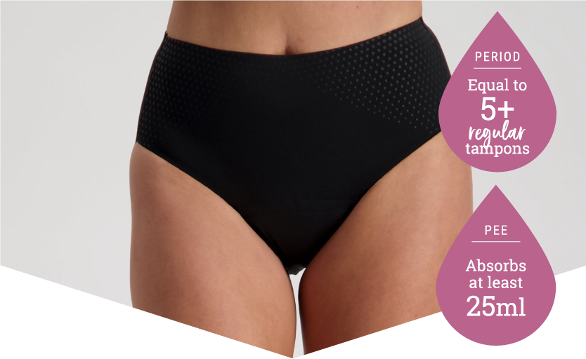 High Cut Black - Period Panties - 5 Tampons Worth - Just'nCase by Confitex