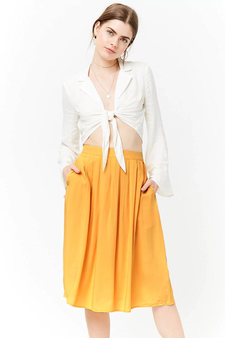 yellow spring skirt from forever 21