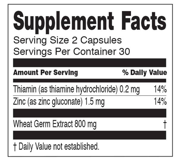 spermidineLIFE nutritional facts label