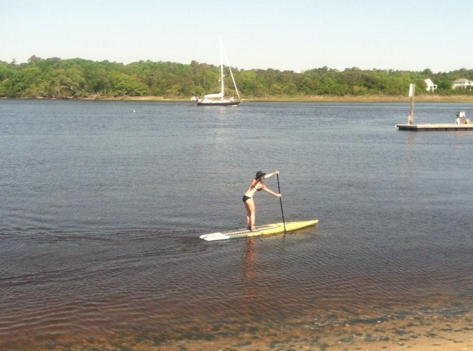 Viper SUP racing board on the lake