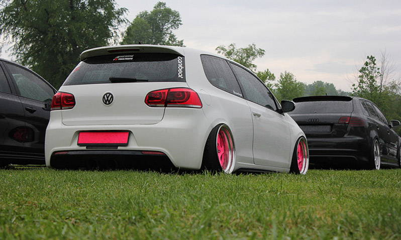 VW GTI with Red Lamin-x tail light film covers