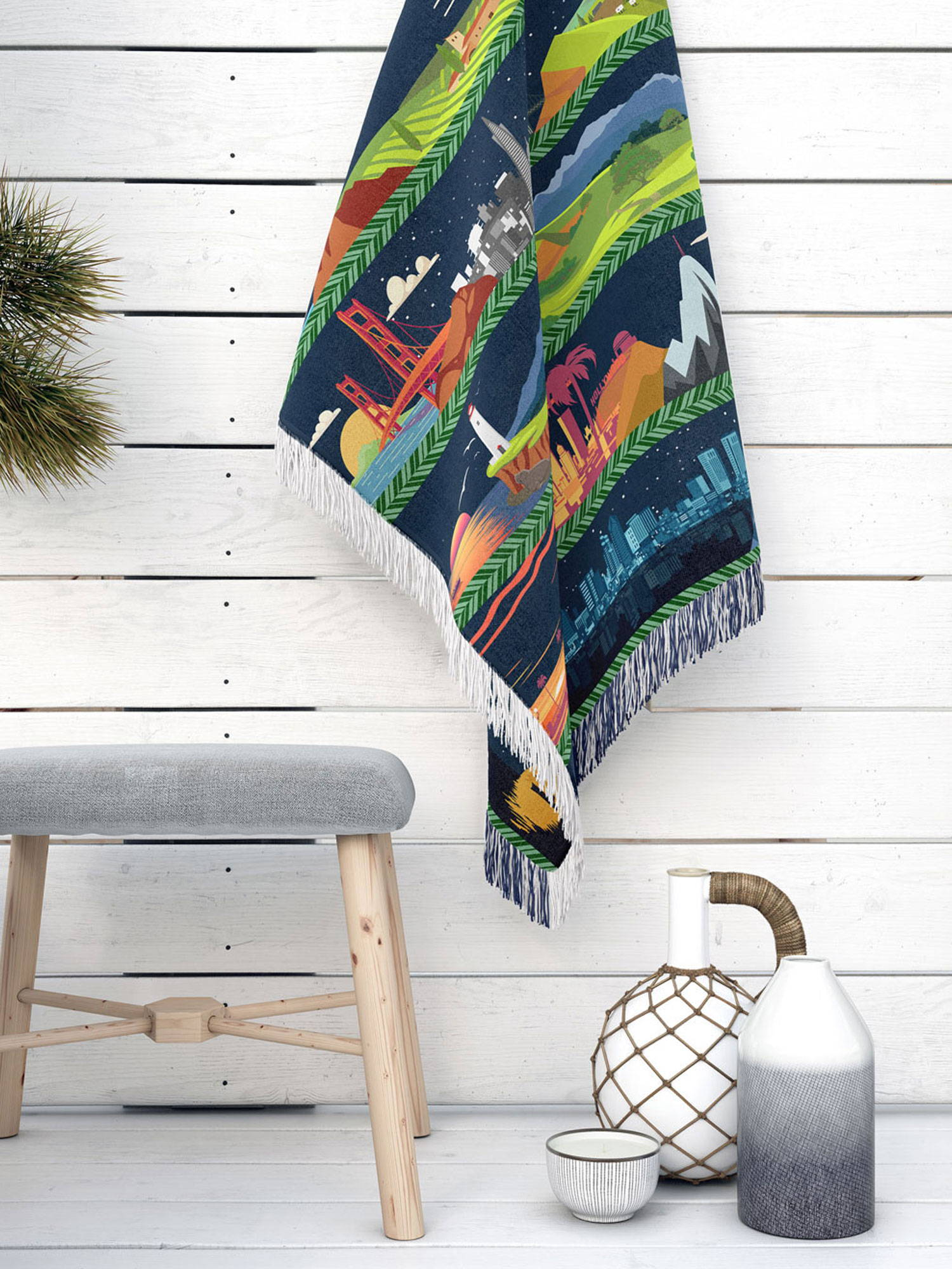 vector artwork of california state from north to south as a cotton woven blanket
