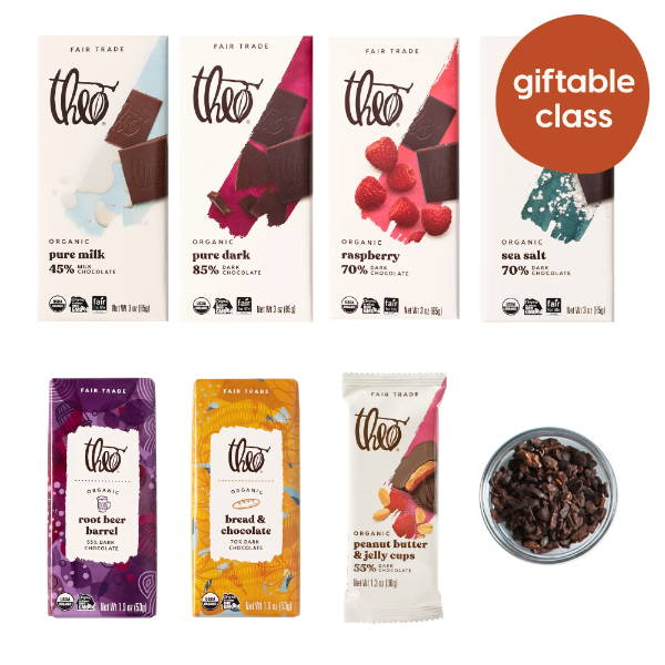 Giftable virtual chocolate tasting class contents: 6 bars, cocoa nibs and peanut butter & jelly cup