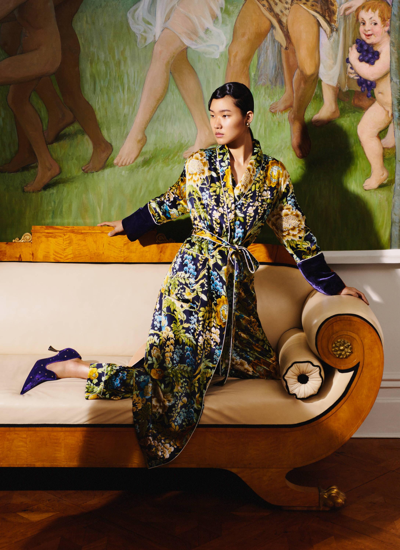 Capability Debauchery Navy Floral Print Luxury Silk Pyjama Olivia von Halle