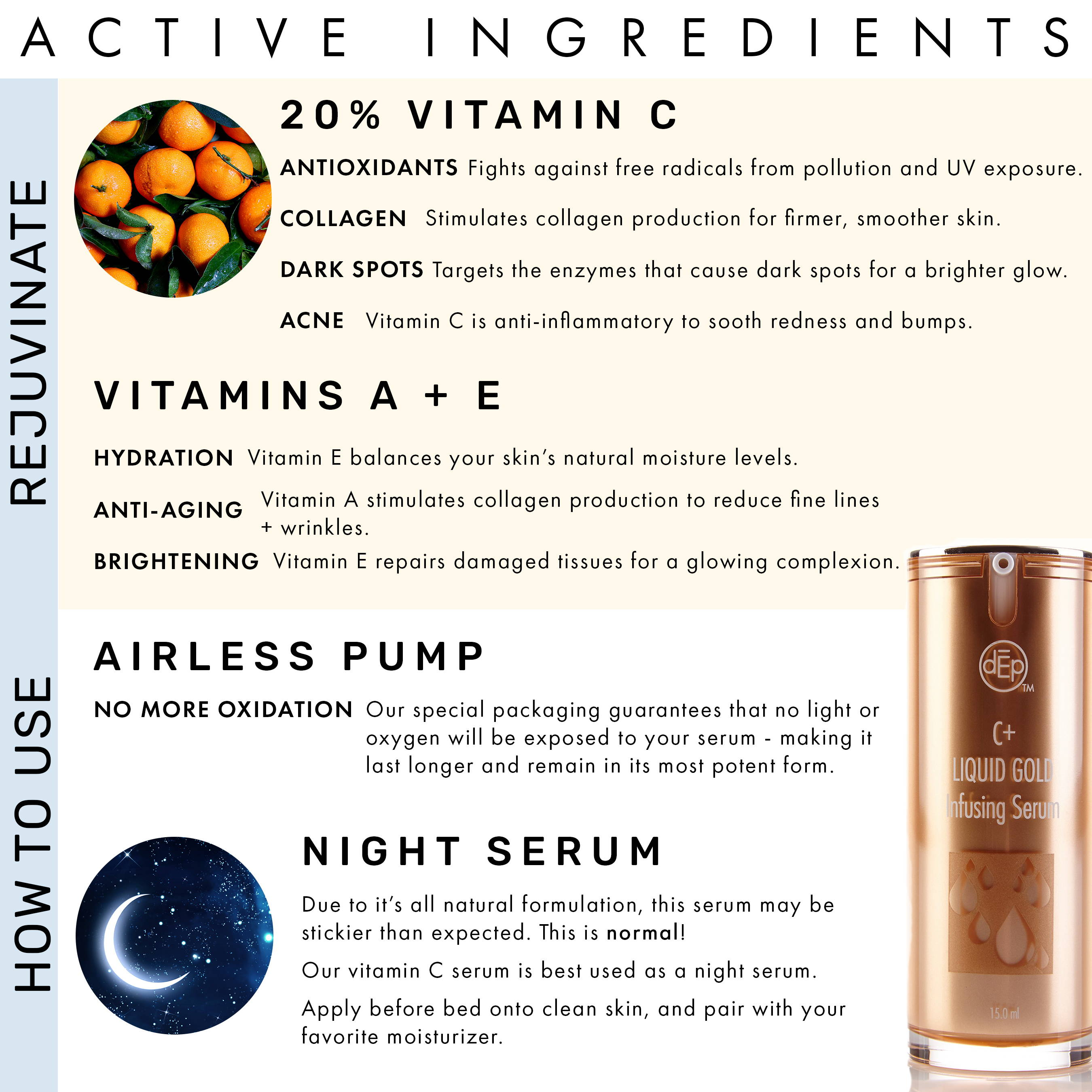 20% vitamin c serum ingredients include specially formulated vitamin c with antioxidants, collagen producing, dark spots, acne, vitamins a and e for hydration anti-aging brightening in an airless pump