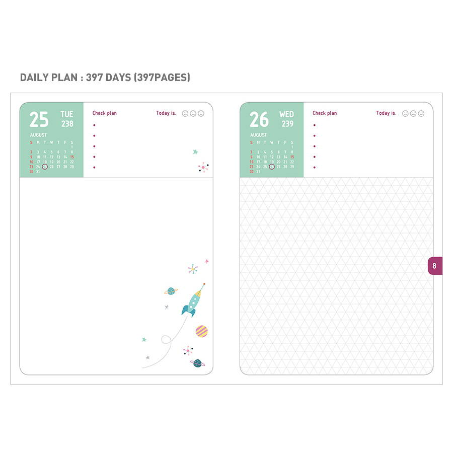 Daily plan - Monopoly 2020 Smiley dated daily diary with tray