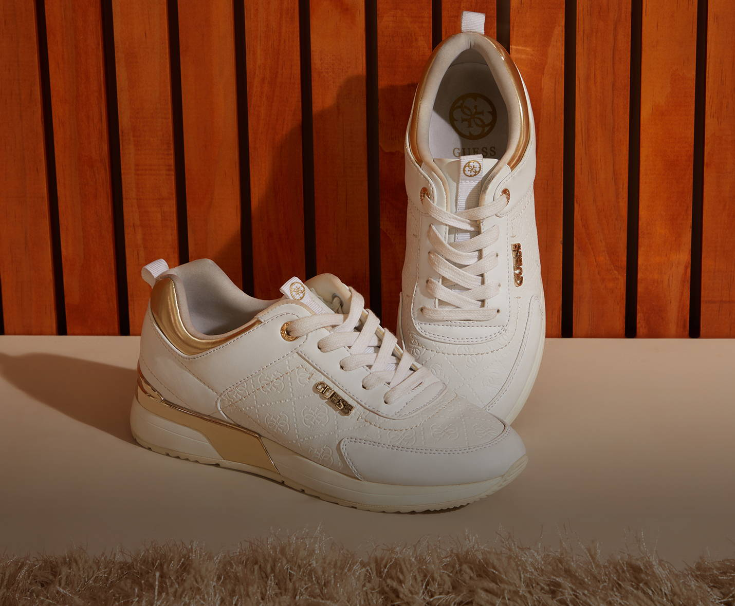 Guess white shoes and footwear