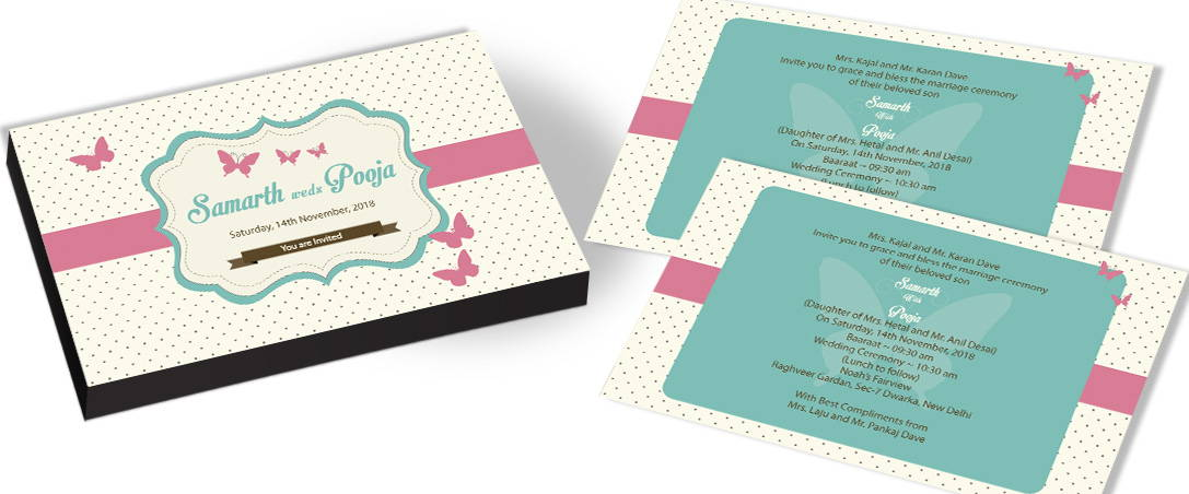 Modern Butterfly Design Wedding Invitation
